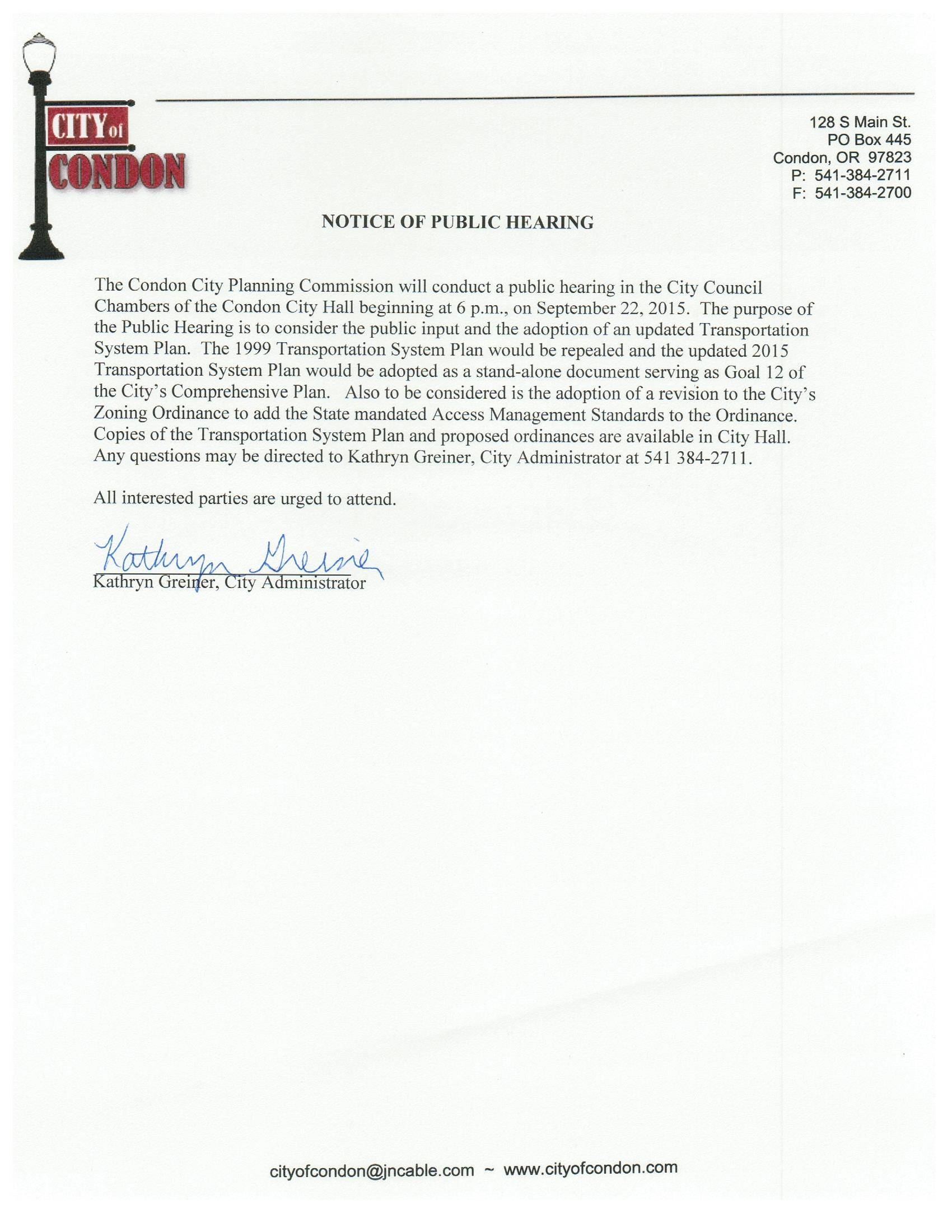 2015-09 TSP Notice